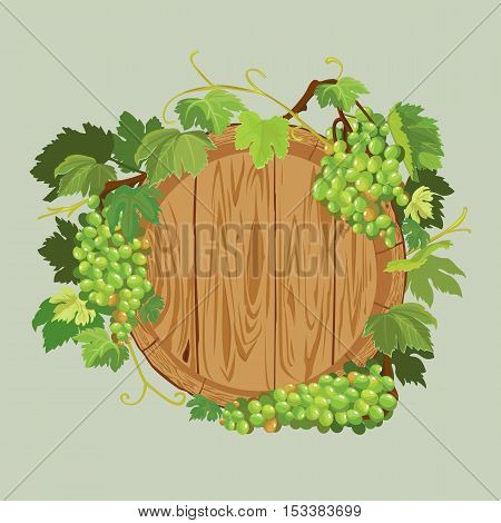 Wooden round frame with green grapes and leaves isolated on beige background. Element for restaurant bar cafe menu or label.