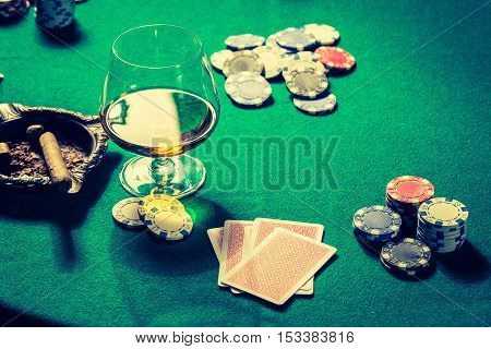 Vintage Table For Poker With Chips And Cards
