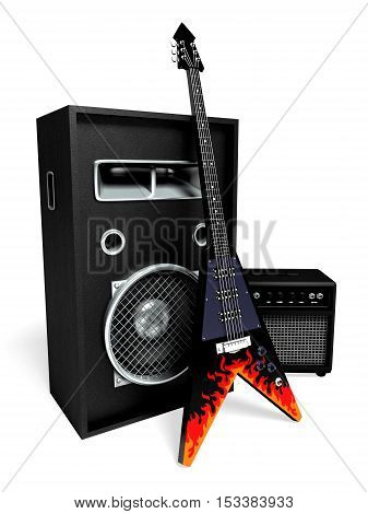 electro rock guitar on the background of the speaker system