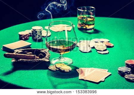 Closeup Of Table For Poker With Chips And Cards