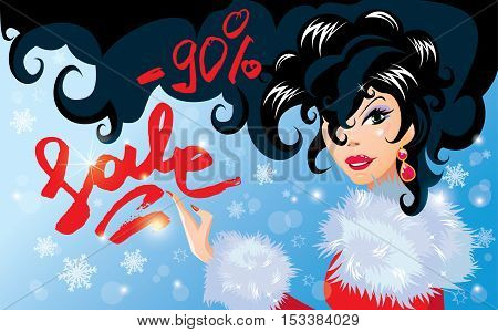 Christmas Discount horizontal banner with Smiling Happy brunette girl. Calligraphic hand written text Sale. Winter background with snowflakes.