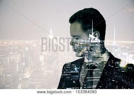 Side view of thoughtful young businessman on abstract city background with copy space. Double exposure