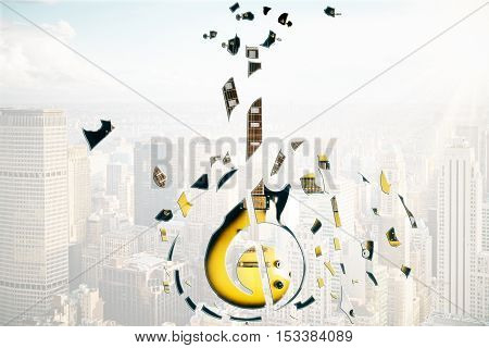 Abstract broken guitar on city background, close up