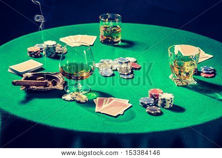 Chips And Cards In Old Table For Poker