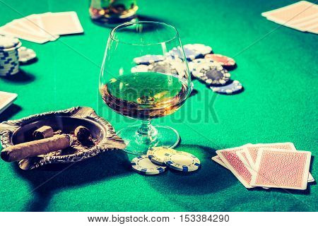 Vintage Gambling Table With Whiskey, Cigar And Cards