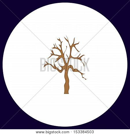 Old Tree Simple vector button. Illustration symbol. Color flat icon