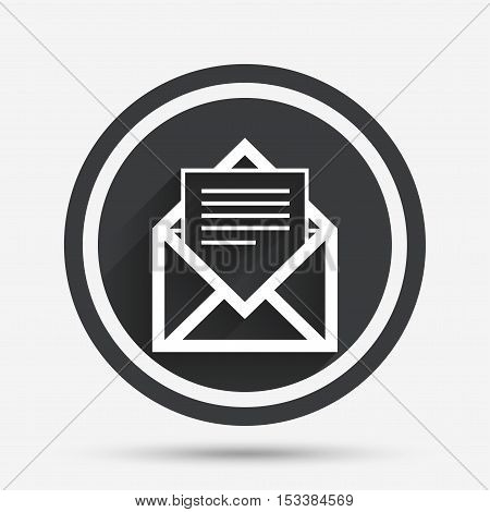 Mail icon. Envelope symbol. Message sign. Mail navigation button. Circle flat button with shadow and border. Vector