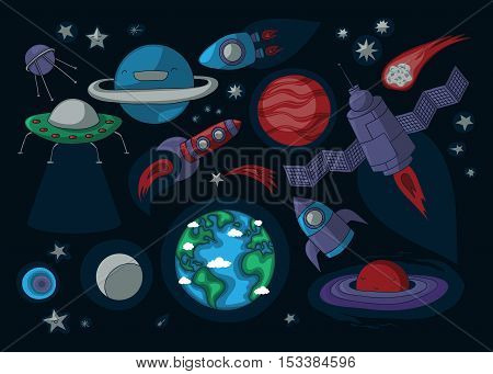 Outer space related cartoon elements: planets rockets asteroids satellite stars ufo.