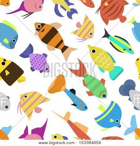 Cute fish vector illustration icons seamless pattern. Fish flat style vector illustration. Tropical fish, sea fish, aquarium set isolated on white background. Seamless design