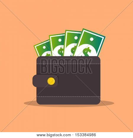 Purse with money in cash. Flat icon