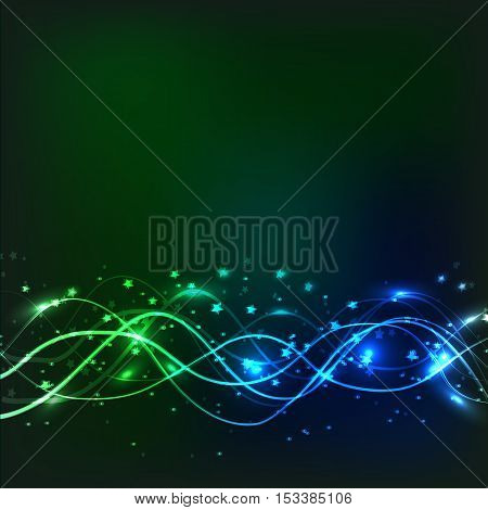 Abstract waves background. Vector illustration in green and blue colors.