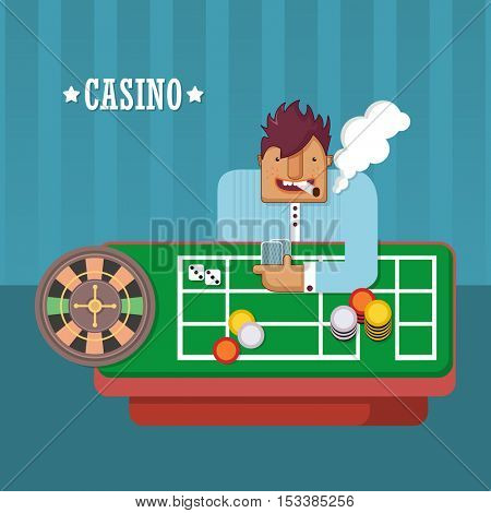 Man playing in the casino. Roulette - a chance to try your luck. Flat vector illustration
