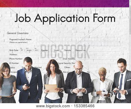 Job Application Hiring Document Form Concept