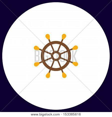 rudder Simple vector button. Illustration symbol. Color flat icon