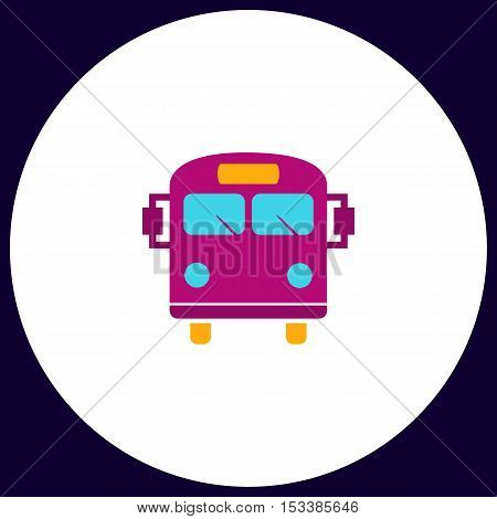 School Bus Simple vector button. Illustration symbol. Color flat icon