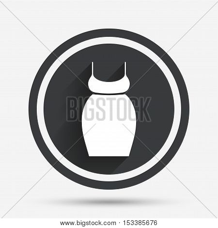 Pregnant woman dress sign icon. Maternity clothing symbol Circle flat button with shadow and border. Vector