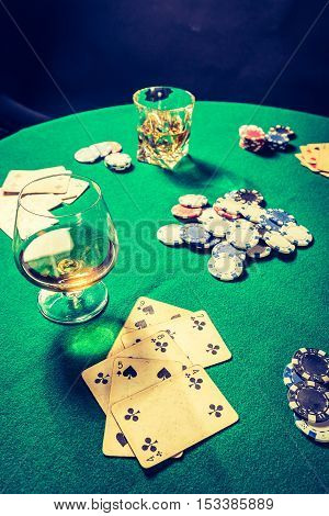 Cards And Chips In Vintage Gambling Table