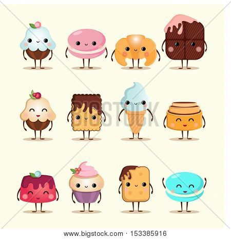 Funny foods sweet dessert face icon emoji. Funny wafer, laughing cupcake and happy cookies. Cartoon funny foods characters isolated vector illustration.