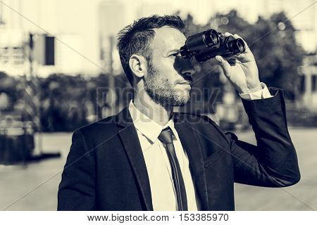 Businessman Binoculars Vision Strategy the Way Forward Concept