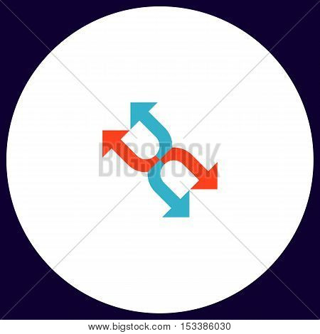 Four arrows Simple vector button. Illustration symbol. Color flat icon