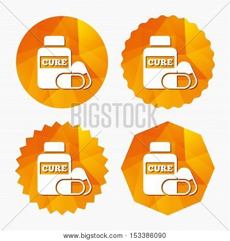 Medical pills bottle sign icon. Pharmacy medicine drugs symbol. Triangular low poly buttons with flat icon. Vector