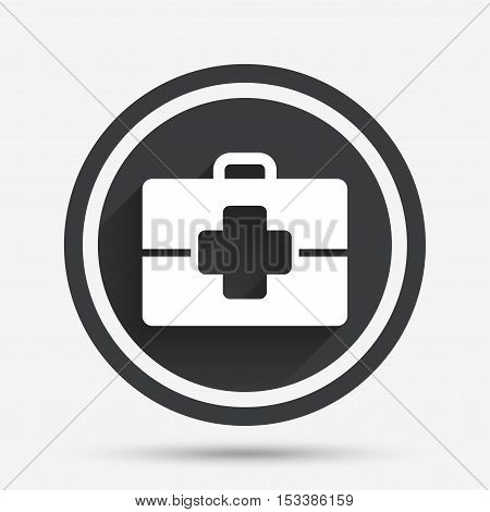 Medical case sign icon. Doctor symbol. Circle flat button with shadow and border. Vector