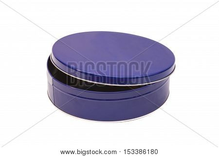 Blue Open Round Metal Box isolated on white