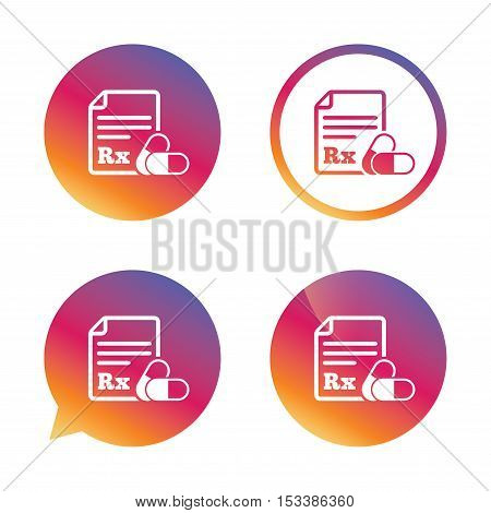 Medical prescription Rx sign icon. Pharmacy or medicine symbol. With two pills. Gradient buttons with flat icon. Speech bubble sign. Vector