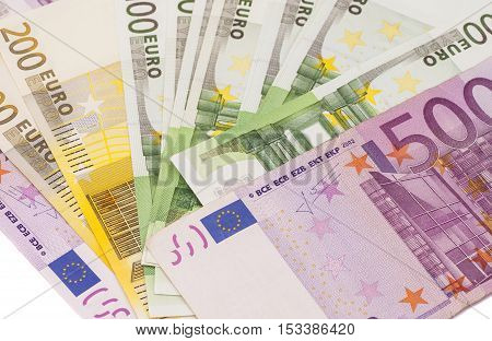 Different Euro banknotes isolated on white background