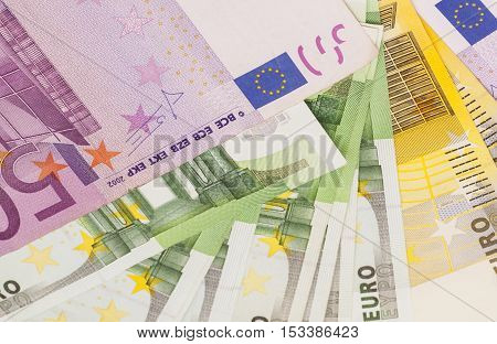 Different Euro banknotes 200 500 100 isolated