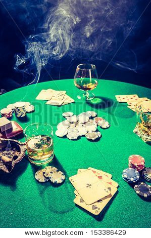 Vintage Gambling Table With Chips And Cards