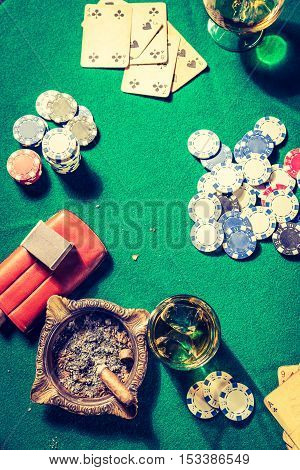 Whiskey, Cigar And Cards In Old Gambling Table