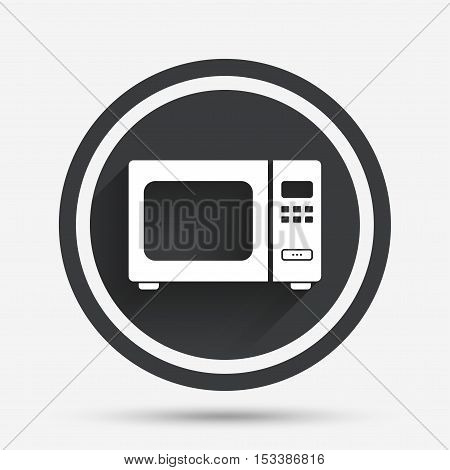 Microwave oven sign icon. Kitchen electric stove symbol. Circle flat button with shadow and border. Vector