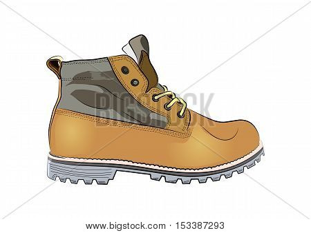Drawn winter leather shoes on a white background. Vector illustration.