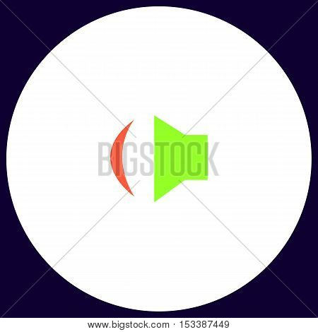 Speaker Simple vector button. Illustration symbol. Color flat icon