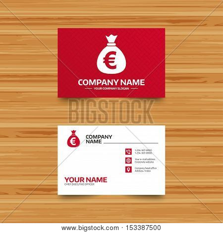 Business card template. Money bag sign icon. Euro EUR currency symbol. Phone, globe and pointer icons. Visiting card design. Vector