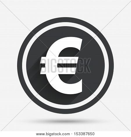 Euro sign icon. EUR currency symbol. Money label. Circle flat button with shadow and border. Vector