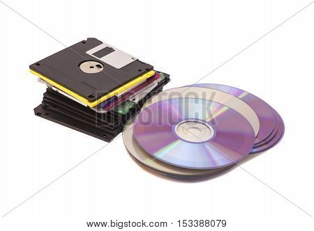 Old Fashion Floppys Disc and Compact Discs