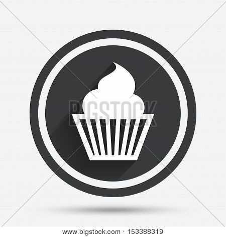 Muffin sign icon. Cupcake symbol. Circle flat button with shadow and border. Vector