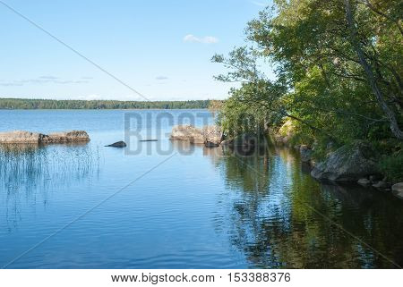 Summer view of the river. Nature background river Bay
