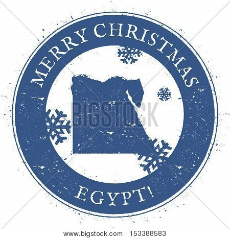 Egypt Map. Vintage Merry Christmas Egypt Stamp. Stylised Rubber Stamp With County Map And Merry Chri