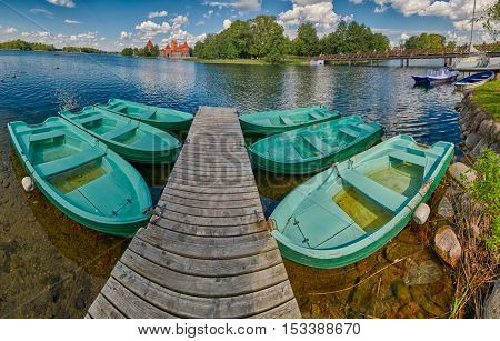Fisheye view of Trakai Castle Panorama with Boats, Lithuania