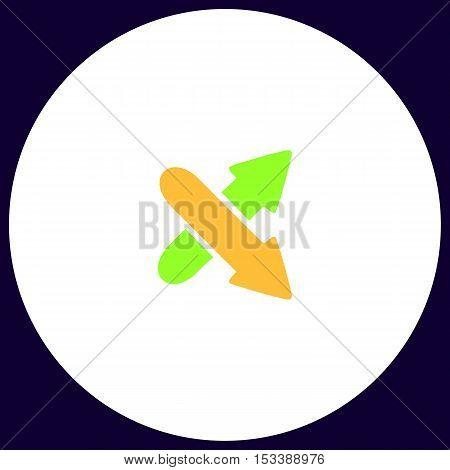 crossing arrow Simple vector button. Illustration symbol. Color flat icon