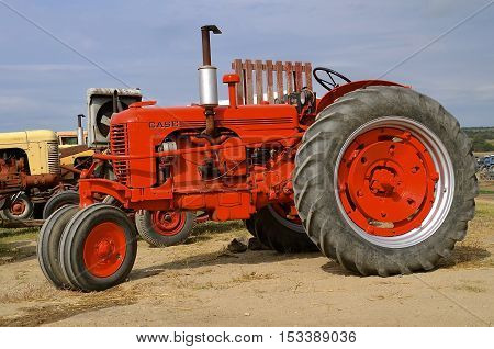 ROLLAG, MINNESOTA, Sept 1. 2016: An old Case tractor  is displayed at the West Central Steam Threshers Reunion in Rollag, MN attended by 1000's held annually on Labor Day weekend.