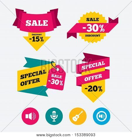 Musical elements icons. Microphone and Sound speaker symbols. No Sound and acoustic guitar signs. Web stickers, banners and labels. Sale discount tags. Special offer signs. Vector