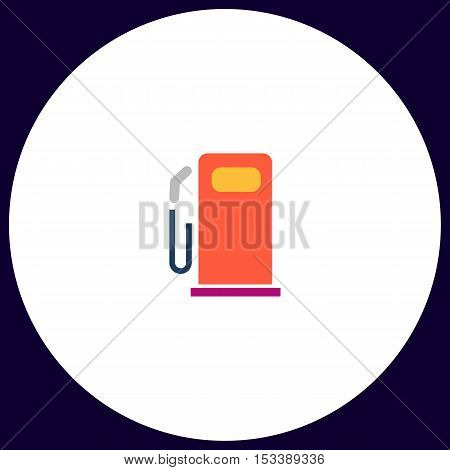 petrol station Simple vector button. Illustration symbol. Color flat icon