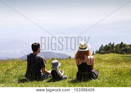 Family on the Nature Background. Lifestyle Travel Family Concept.