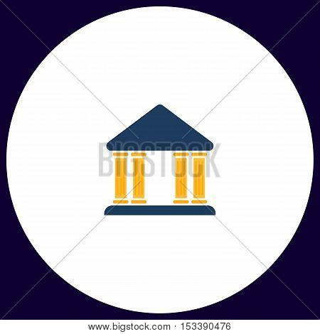 Justice court Simple vector button. Illustration symbol. Color flat icon