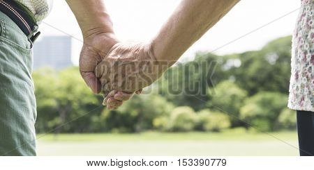 Elderly Couple Happiness Romantic Holding Hand Concept