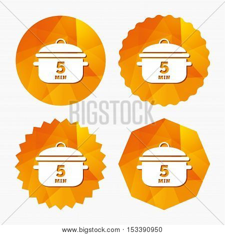Boil 5 minutes. Cooking pan sign icon. Stew food symbol. Triangular low poly buttons with flat icon. Vector